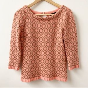 Dolce Vita pink and gold pattern angora blend Top